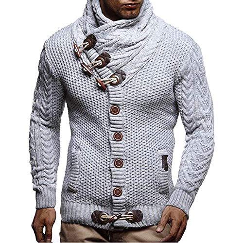 Jersey de punto para hombre de corte ajustado, invierno, moderno, jersey de punto para invierno, camiseta de manga larga, sudadera con capucha de lana con cierre de botones