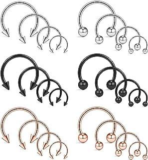 Ruifan 10-24PCS 16G Surgical Steel Nose Septum Horseshoe Hoop Earring Eyebrow Tragus Lip Piercing Ring