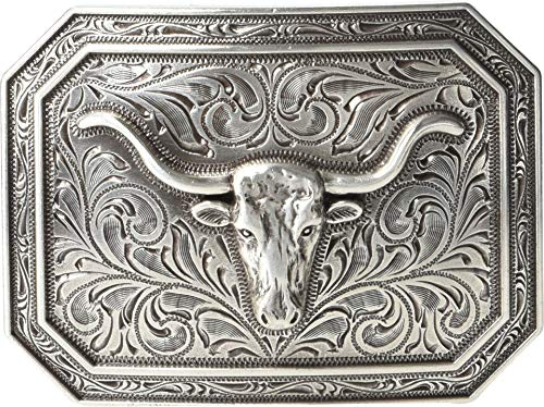 Ariat Rectangle Longhorn Buckle Antique Silver One Size