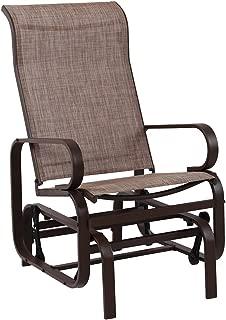 PHI VILLA Swing Glider Chair Patio Rocking Chair Garden Furniture, Textilene Mesh Steel Frame, Single Glider