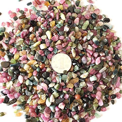 AITELEI 1 libra de turmalina natural con piedras trituradas de cristal reiki curativo, piedras de forma irregular para hacer joyas para decoración del hogar