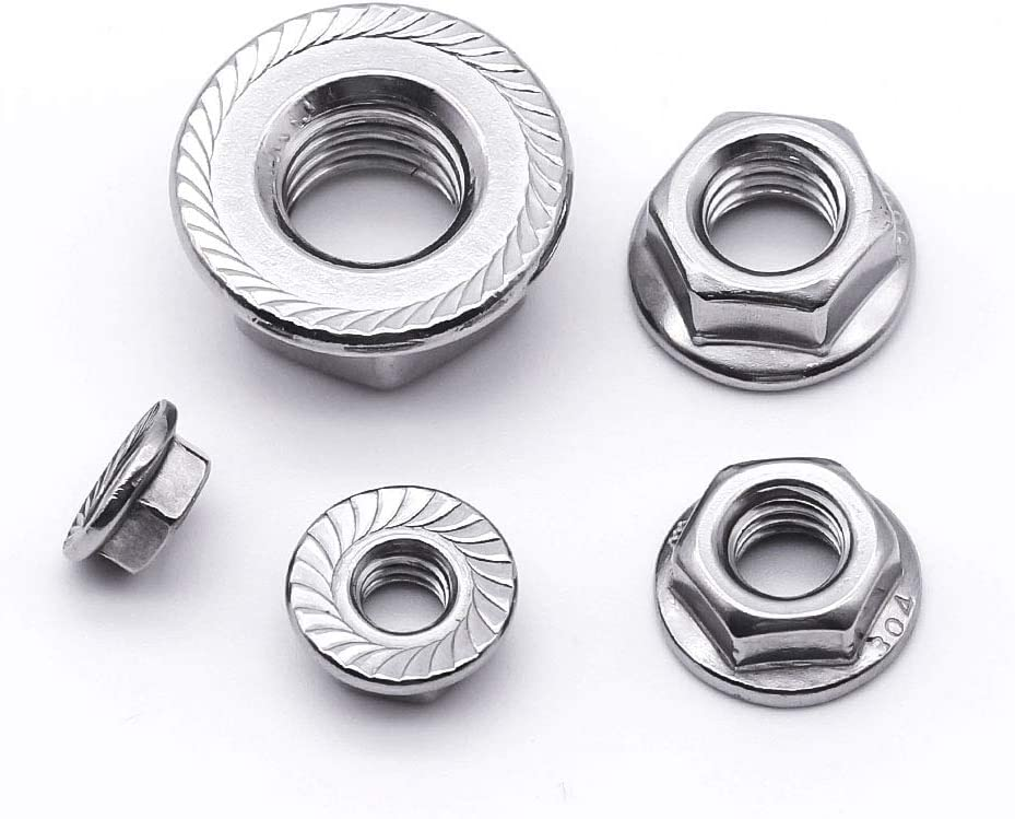 1//4-20 Serrated Flange Hex Lock Nuts 50 of Pack Bright Finish,304 Stainless Steel 18-8
