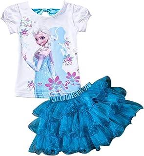 AOVCLKID Princess Costume Little Girls' 2Pcs Suit Cartoon Shirt and Skirt Set