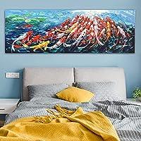 CHBOEN 帆布の絵 壁キャンバスアート絵画印刷抽象Fengshui Koi Fish Lotus景観中国絵画&書道ポスター (Size (Inch) : 50x150cm Unframed)