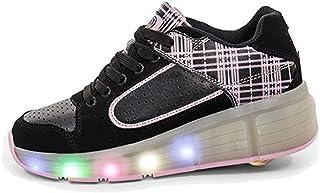 EVLYN Boys Girls Light Up Single Wheel Kids LED Roller Shoes Skates Sneakers
