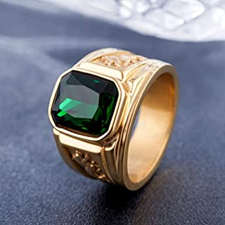 Rings Retro Square Gemstone Carved Dragon Totem Signet Titanium Steel Ring for Men, US Size: 9, Diameter: 19mm, Perimeter: 59.8mm(Black) Rings (Color : Green)