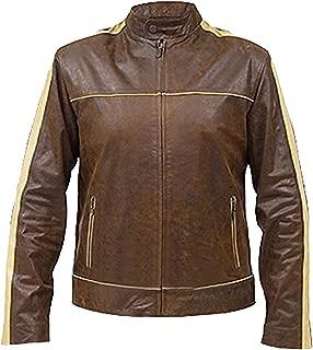 KAAZEE Mens Vintage Motorcycle Cafe Racer Patches Distressed Brown Genuine Leather Jacket