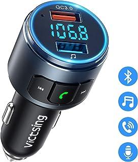 Transmisor FM Bluetooth 5.0 para Coche, [Luz LED Anillo] QC3.0 VicTsing Mini Transmisor Bluetooth Manos Libres con Siri Google Asistente, Reproductor MP3 Coche, Adaptador de Radio Hi-Fi Música Spotify