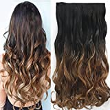 Neverland 24 Inches (60cm) Full Head Clip in Hair Extensions Ombre Wavy Curly Dip Dye