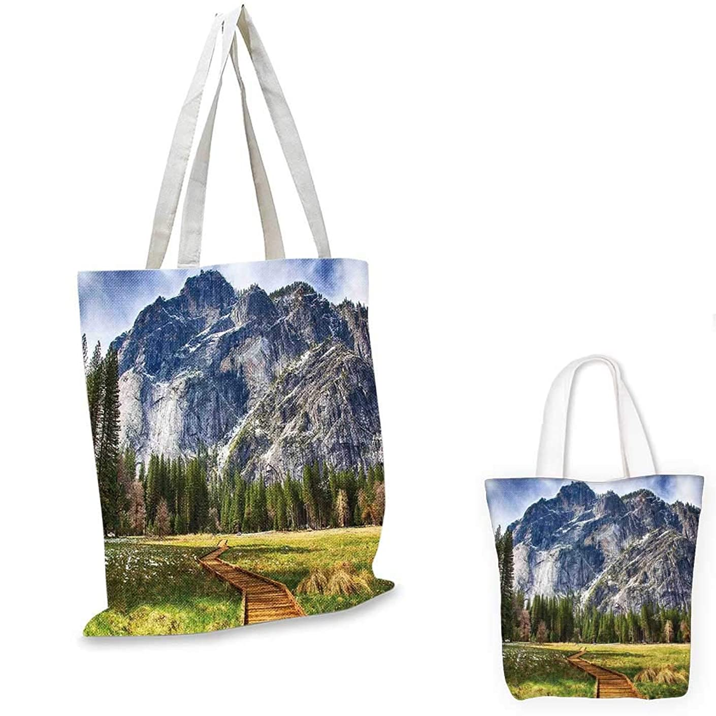 Yosemite canvas shoulder bag North Dome as Seen From the Valley With Wooden Walkway Yosemite National Park shopping bag for women Green Charcoal. 12