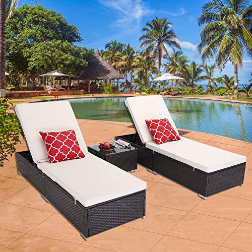 HTTH Outdoor Chaise Lounge, 3 Pieces Patio Chaise Lounges Chairs Set Adjustable Wicker Chaise Thick & Comfy Cushion Wicker Lounge Chairs with Removable Cushion for Garden, Patio, Pool (Beige)