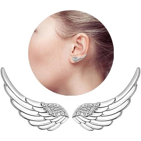 HOMEYU® Argento 925 Sterling Sweep up Ear Wrap Pin Ear Cuffs Climbers CZ Angolo di Cristallo Ali Wings Stud Orecchini Gancio