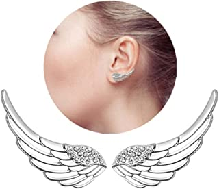 HOMEYU® Mujer Plata de Ley 925 Barrer Ear Pin Wrap Pinzas para el oído Escaladores CZ Crystal Angle Wings Stud Hook Earrings