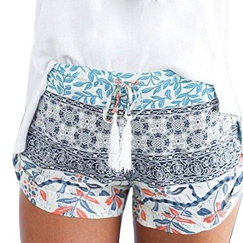 Pantalones de Las Mujeres Looekveoyi Mujeres Pantalones Calientes Sexy Pantalones Cortos de Verano Pantalones Cortos de Cintura Alta Pantalones de Bohemia Imprimir Pantalones de Playa Sueltos