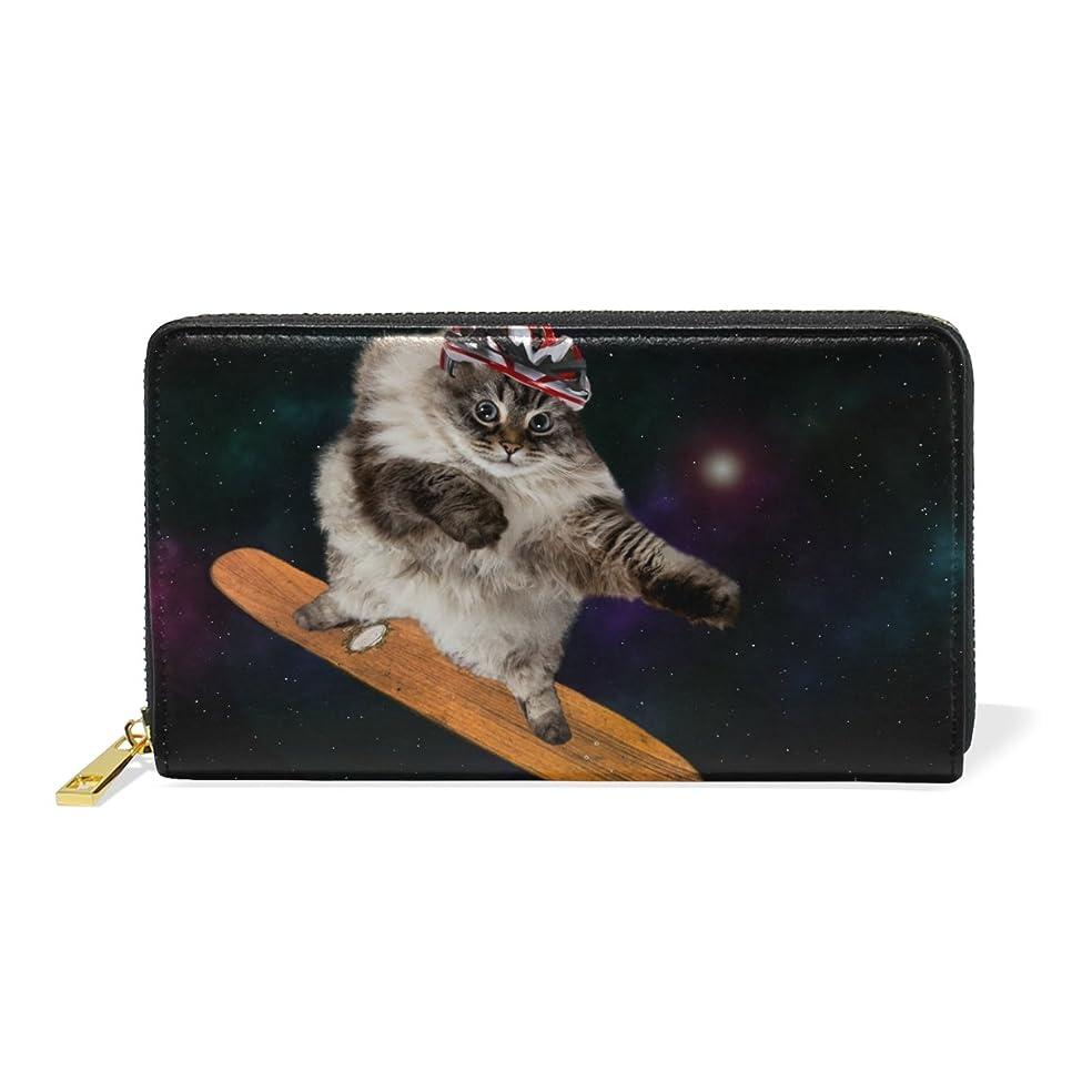 本土パイル保育園AOMOKI ラウンドファスナー 財布 長財布 大容量 本革 宇宙 猫 スケートボード