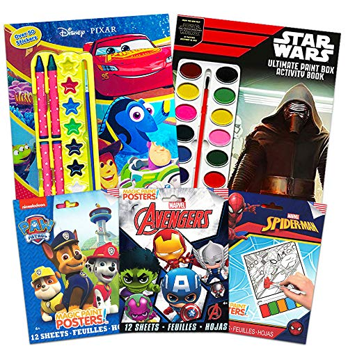 Disney Star Wars Marvel Paint with Water for Kids Toddlers Bundle ~ 5 Activity Books with Paint, Brushes, Crayons, Stickers and More