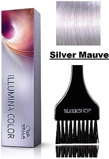 Wella ILLUMINA Permanent Creme Haircolor Dye (with Sleek Tint Brush) Sheer Light Cream MicroLight Hair Color (Silver Mauve - Opal-Essence)