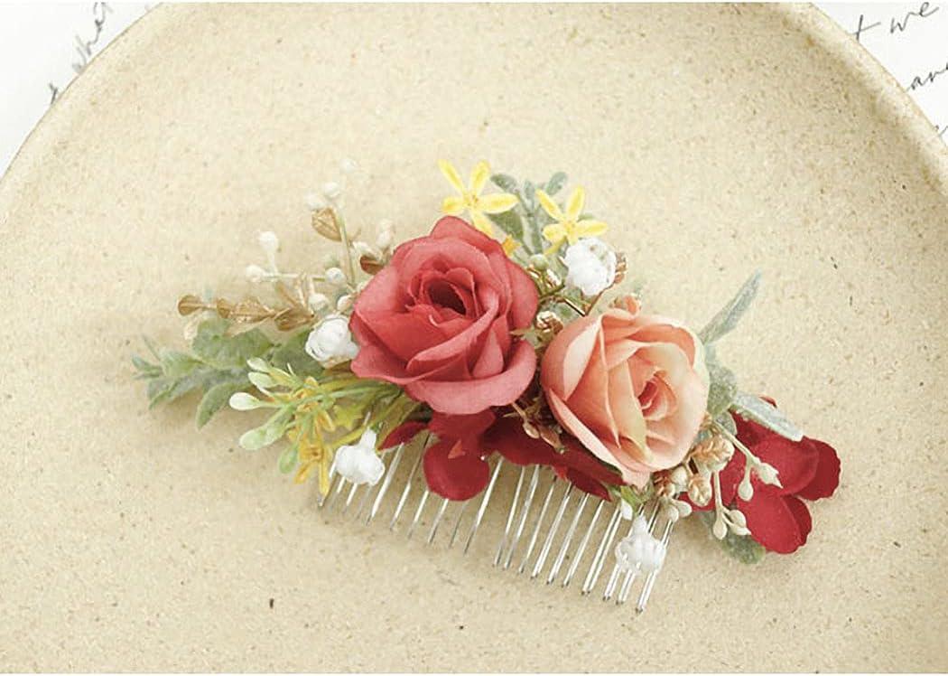 IYOU Rojo Nupcial Peine Artificial Flor Fuente Sale de Paseo Playa Boda Lados Peines Vestido de pelo Accesorios por Novia y Dama de Honor