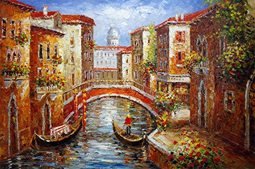 100% Hand Painted Canvas Oil Painting for Wall Art Decor, Venice Italy Cafe Gondola Wine Mediterranean Canal Pole Bridge Art Oil Painting Reproduction/ Replica