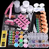 Cooserry 46 in 1 Acrylic Nail Kit - 12 Shiny Glitter Acrylic Powder Kit For Beginner Technician Use - Acrylic Nail Art Decoration Tools For Professional DIY Gel Nails Manicure Display