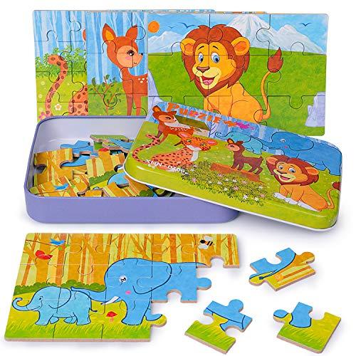 Rompecabezas 4 en 1 para niños Rompecabezas de 56 Piezas Mejor Regalo para 3 4 5 años Rompecabezas de León Ciervo Elefante Leopardo para niños pequeños con Caja de Rompecabezas de Metal (Pradera)