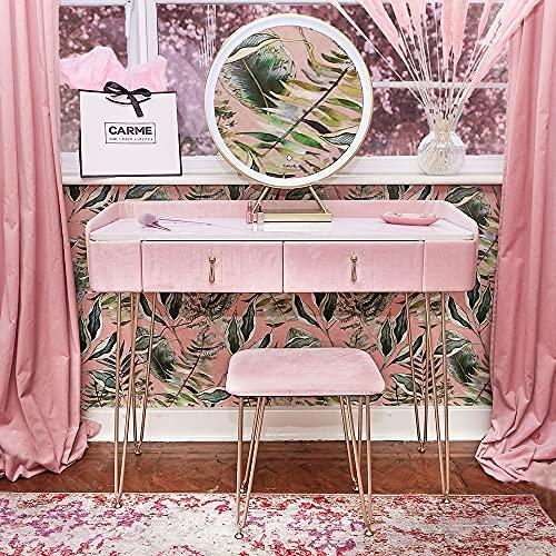 Carme Tokyo - Tavolo da tokyo in velluto con sensore touch a LED, colore: Rosa ballerina