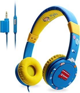 EasySMX KM-669子供用ヘッドホン 85dB音量リミット インラインリモコン 3.5mm マイク搭載 オーディオスプリッタ/シェア用ジャック付き 密閉型 キッズヘッドホン (ブルー)