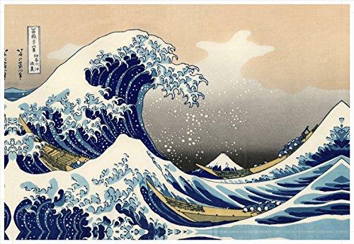 Wieco Art Gran Ola de Kanagawa de Katsushika Hokusai, diseño Moderno HD Lienzo Obra de Arte Abstracto Lienzo de Paisaje Arte de Pared para hogar y Oficina decoración decoración de la Pared p1rla033-p