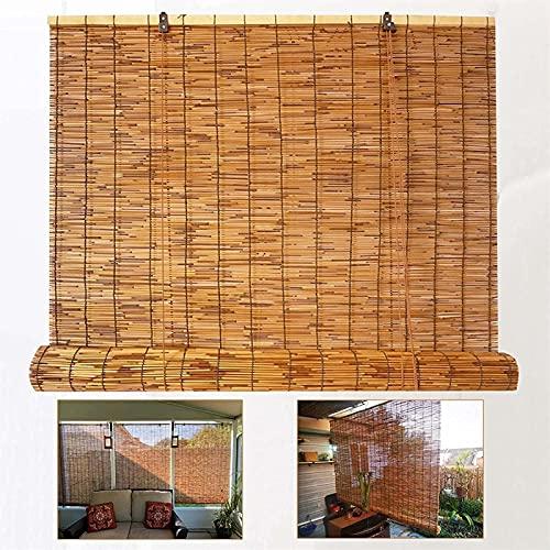 Persianas de rodillos de bambú carbonizadas, persianas de caña de sombreado por el sol, persianas romanas decorativas retro con levantadores, aislamiento térmico, protección solar y resistencia a los
