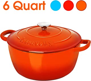 Greenvelly 6 Quart Enameled Cast Iron Dutch Oven Pot with Lid Dual Handle Round French Oven for Baking, Braising, Non-Stick, Stew-pans-Orange