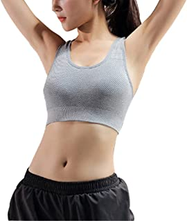 ZYDP Women's Seamless Sports Bra High Impact Full Support Racerback Workout Gym Activewear Bra (Color : Silver, Size : L)