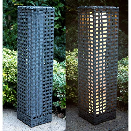 Solar Powered Traditional Rectangular Rattan Effect Garden Patio Driveway Floor Standing LED Light Lamp 68cm (Set of 2 Grey)