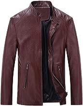 Yomiafy Men's Solid Color Vintage Zipper Motorcycle Leather Jacket Slim Stand Collar Biker Jacket Coats