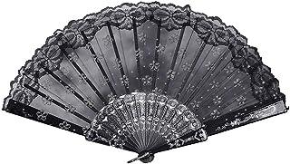 YWLINK Abanicos,Abanico De La Mano del CordóN del Banquete De Boda De Seda Plegable Mano Ventilador De La Flor Abanico Decorativo Fan del Baile Carnaval Manualidades(Negro)