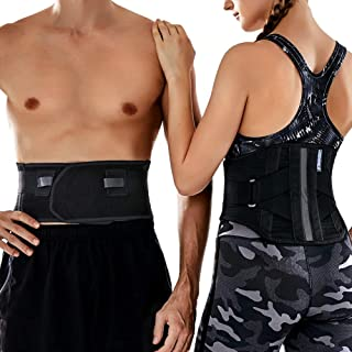 T TIMTAKBO Lower Back Brace W/Removable Lumbar Pad for Men Women Herniated Disc,Sciatica,Scoliosis,Waist Pain, Lumbar Support Belt (Black/Gray, Plus Size 2XL fit Belly 43.5