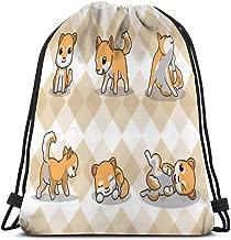 Drawstring Backpack Sports Gym Bag For Women Men shiba inu dog seamless pattern