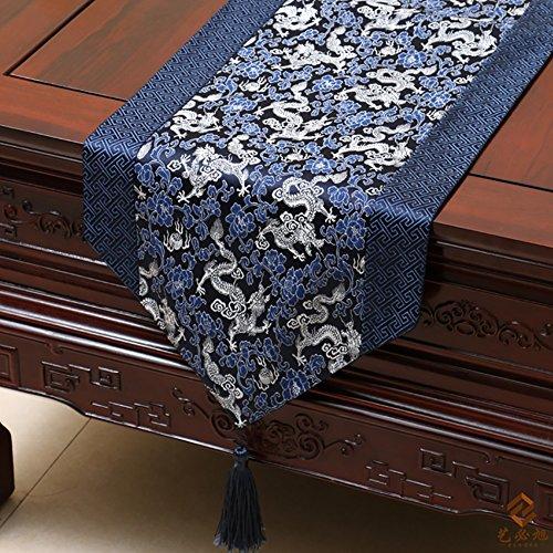 ZJM-TischLäufer Neoklassizistische Quasten Tischläufer Brokat Top Grade Tischset Esstisch Kissen ( Farbe : #11 , größe : 33*230cm )
