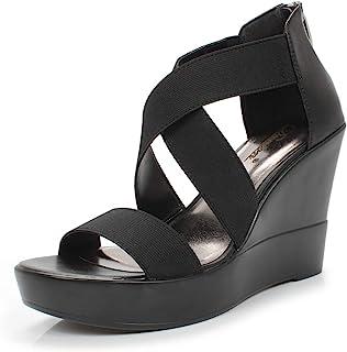 DUNION Women's AWE Zip Closure Crisscross Straps Platform Wedge Sandal Wedding Party Dress Shoe