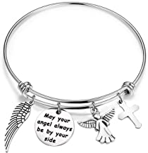WUSUANED May Your Angel Always Be by Your Side Memorial Bangle Bracelet Loss of Loved One Gift