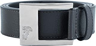 Versace Collection Men's Medusa Stainless Steel Buckle Pebble Leather Belt Brown