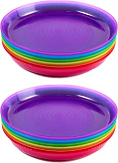 Cuddly Hippo Kids Plastic Dinnerware Set of 12 Multi Color Plates - Reusable, BPA-Free, Dishwasher Safe and Microwaveable