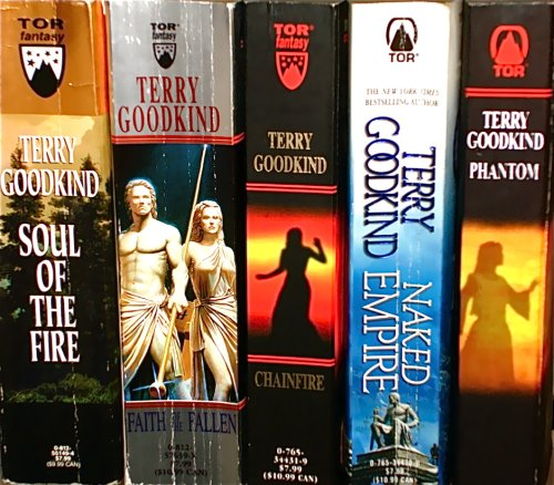 Books 5-9 of the Sword of Truth Series:  Soul of the Fire,   Faith of the Fallen,   Chainfire,   Naked Empire,   Phantom.