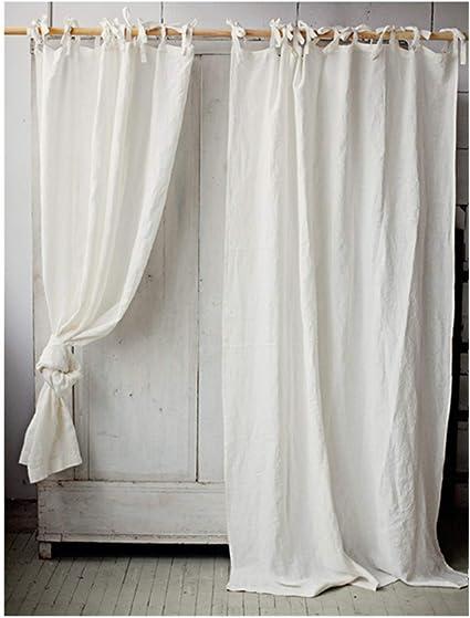 jassxin rideaux en lin blanc tulle pour