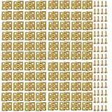 VEIREN 100 Pack Mini Hinges with 400 Pack Replacement Screws Gold Copper Butt Hinge Connector with Mounting Nail Tiny Hardware for Wood Jewelry Case Cabinet Closet Dollhouse Miniature Furniture,10x8mm