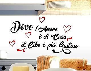 Adesivi murali frasi cucina amore casa il cibo è più Gustoso scritte italiano decorazione della casa da parete Decorazione...