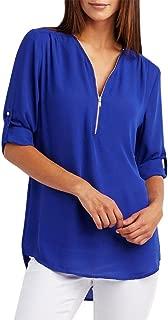 Women Elegant Zipper V-Neck Casual Tops T-Shirt Loose Top Roll Tab Long Sleeve Blouse