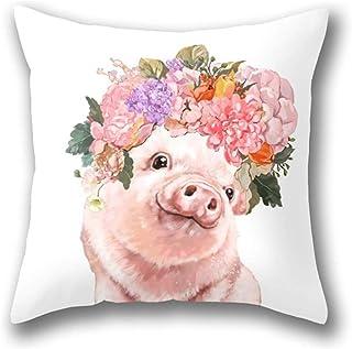 Lovely Baby Pig with Flowers Crown Pillow Cover Funda de Almohada de Tiro estándar
