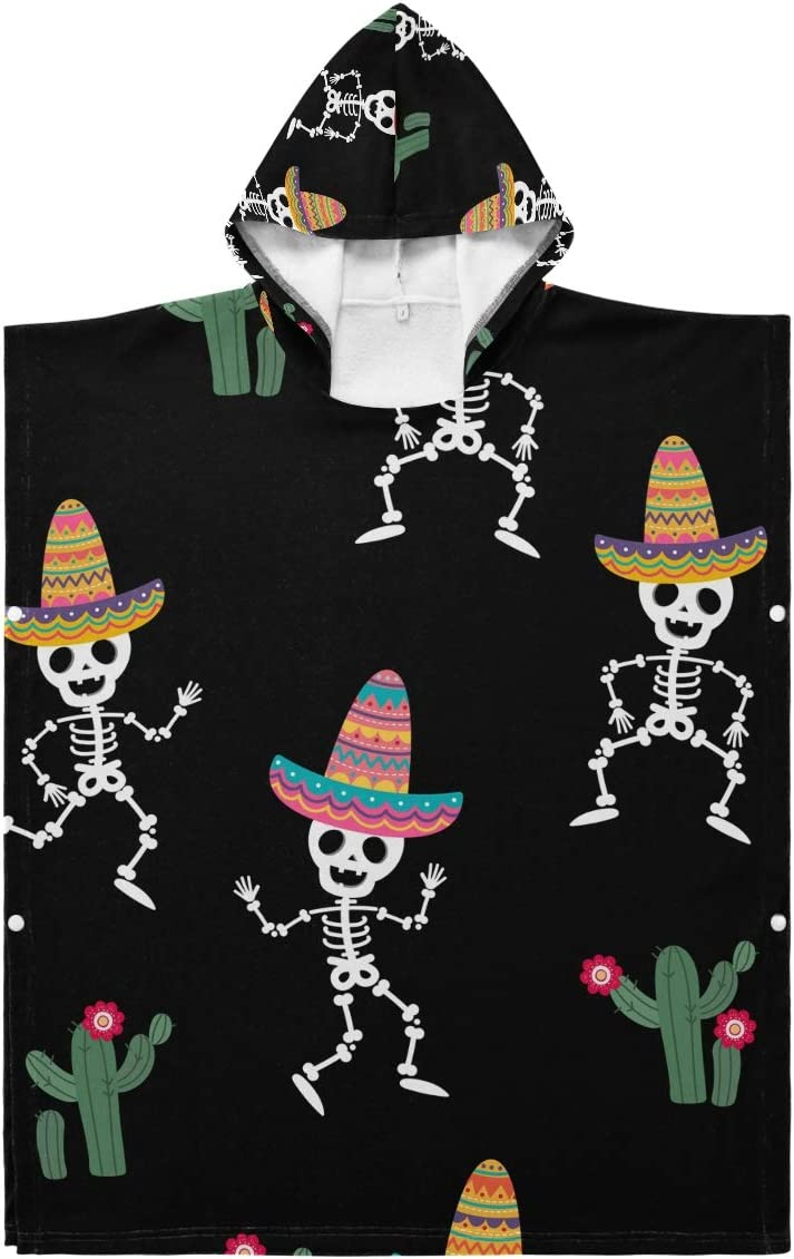 Kids Hooded Beach Towel - Cinco To Mayo Toddler Skull Cheap sale Dancing De New product!!