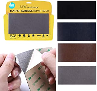 KASOworkshops Leather Repair Patch for Sofas Car Seats Handbags Jackets Leather & Vinyl Adhesive Plain 8 x 4 inch Gray