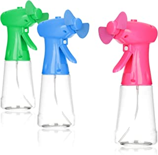 com-four® Botella de Spray con Ventilador 3X, Ventilador para niños, rociador de Agua para refrescarse en Verano, Spray de Mini Ventilador Manual